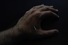 again left hand, acupuncture needle