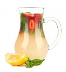 Basil lemonade with strawberry, isolated on white