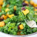 Kale salad with butternut squash and cranberries